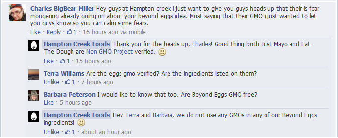 Beyond Eggs used any GMO ingredients, and she said emphatically, NO